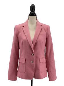 Banana Republic Womens Hacking Jacket Pink 10 Tweed Herringbone Elbow Patches