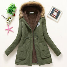 Women Winter Warm Hooded Coat Windproof Faux Fur Parka Jacket Trench Outwear