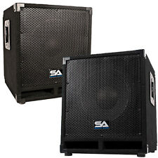 "Pair of Powered 12"" Pro Audio Subwoofer Cabinets - PA / Band / DJ / KJ Subs"