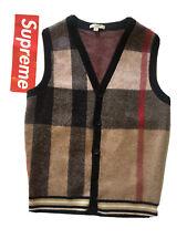 Burberry Brit 100% Wool Cardigan Sweater Vest London Plaid Button Medium M 40