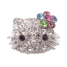 Kitten Kitty Cat Cocktail Ring Costume Jewelry Rhinestone Multi-color Silver Ton