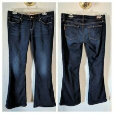Paige Women's Jeans Size 28 Dark Wash Canyon Flare Leg Whiskering Altered