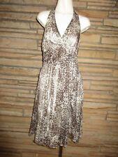NWT BCBG MAXAZRIA Sz 6 Halter 100% Silk Dress Beige Brown Gold Lurex Sexy