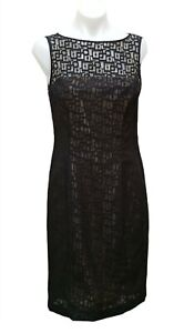 Vintage Covers Black Lace Sheath Dress Size 10 Work Business Cocktail Retro Slit