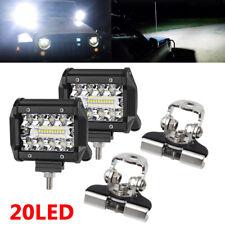 "2x 4"" 120W LED Work Light Bar Flood Driving Fog Lamp Offroad Truck +2PCS BRACKET"