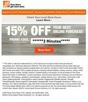 ONE~1X-Home Depot 15% OFF Online Coupon Save up to $200 FAST--SENT_-_-_-