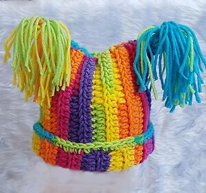 BABY GIRLS RAINBOW STRIPED HAT square chunky beanie tassels winter gift PTY1