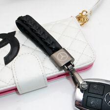AMG Black Calf Leather Alloy Logo Emblem Keychain Decoration Gift Accessories