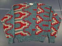 Vintage McGregor Blue Red Gray Acrylic Aztec Geometric Sweater 80s 90s Men's XL