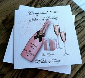 """Handmade Personalised Wedding Day Card Congratulations Champagne 6"""" Square"""