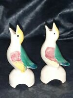 "Lot 2 Vintage Ceramic Figural PIE BIRD VENT 5"" Red Yellow Green Feather Vintage"