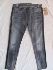 True Religion Rocco Relaxed Skinny Renegade Jeans-Destroyd-Grey-Size 34-NWT $298