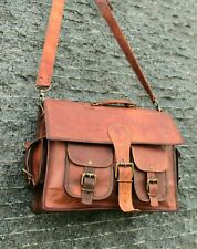 Handmade Brown Leather Laptop Satchel Tab/iPad Handbag CrossBody Messenger Bag