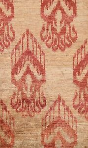 Oushak Geometric Oriental Area Rug Hand-knotted Light Brown Foyer Carpet 5x8 ft