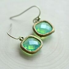 Pacific Opal Square Jewel Earrings - Antique Bronze Frame - Transparent Glass