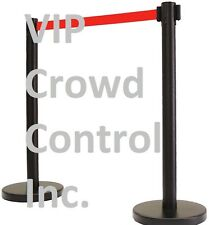 "Retractable Stanchion, 2 Pcs Set, 40"" Blk Finished, 13' Red Belt(Area Versi"