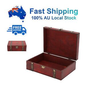AU STOCK!Wooden Oversize Vintage Treasure Chest Wood Jewellery Storage Box Case