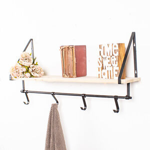 Black Metal & Wooden Shelf With Hooks Wall Mounted Rustic Vintage Storage Home