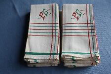 12 serviettes de table anciennes monogrammées style basque