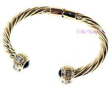 JET Onyx Gold Filled Catwalk COPPIA Bracciale Braccialetto W / quadrato cristalli swarovski