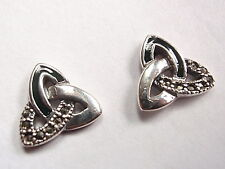 Marcasite Trinity Infinity Stud Earrings 925 Sterling Silver Post Green Accents
