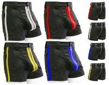 Ledershorts mit Heckreißverschluss + Streifen,Leder shorts,Hose,kurze lederhose
