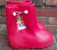 Vintage Mickey Mouse Red Rubber Rain Boots Youth Size 10 Walt Disney Usa
