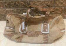 Bath and Body Works XL Travel Bag Faux Leather Fur Shoulder Strap Duffel Snow