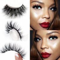 Long 100% Real Mink Black Natural Top Luxury Thick Eye Lashes False Eyelashes UK