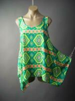 Bright Ethnic Tribal Print Handkerchief Swing Tank Cami Top 296 mvp Blouse S M L