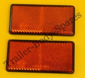 2 x Amber Side Reflectors 100mm x 50mm Self Adhesive - Trailer Horsebox