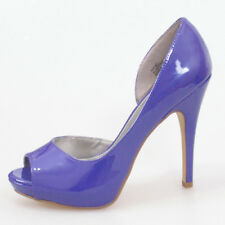 WOMEN SHOES DESIGNER PATENT BLUE OPEN TOE PLATFORM HIGH HEELS 8.5 WORK OFFICE