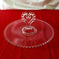 Imperial Candlewick large Clr Glass  Dessert Tray Heart Handle & 1small tray.