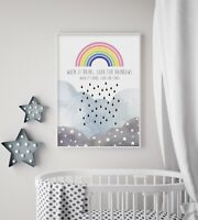 When it Rains, Look for Rainbows - Nursery Print - Baby Room - Wall Art - Stars