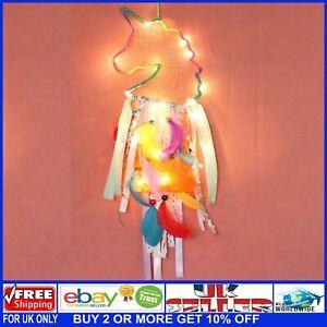 Multicoloured Unicorn LED Light Up Rainbow Dream Catcher Bohemian Ribbons &Beads