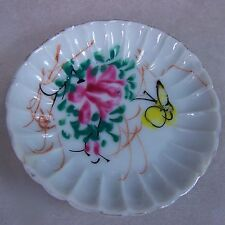 Antique Porcelain Scalloped Butter Pat/Dish Pink Rose Yellow Butterfly Gold Trim