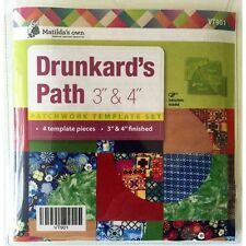 """Matildas Own Drunkards Path Patchwork Template Set-4 pieces for 3"""" and 4"""" blocks"""