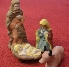 Weihnachten, Krippenfiguren, Maria, Josef, Jesuskind, Ochs, Ton handbemalt