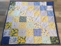 Patchwork Small Quilt, Four Patch, Large Squares, Floral Calico Prints, Blue