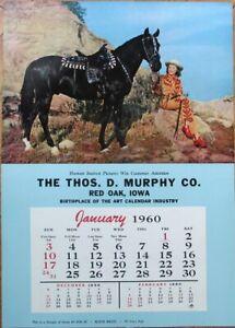 Pinup Cowgirl 1960 Poster/13x19 Ad Calendar, Woman & Horse: 'Black Magic'