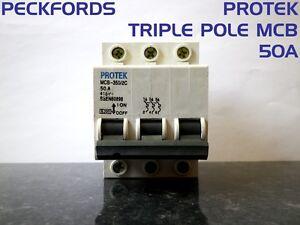 Protek MCB-350/2C 50A 60898 415V MCB Circuit Breaker 3 Phase Triple Pole
