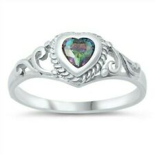 USA Seller Baby Ring Sterling Silver 925 Best Deal Jewelry Rainbow Topaz Size 2