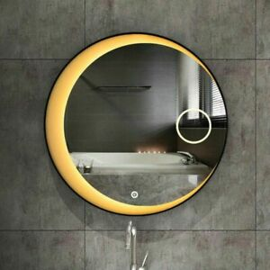 LED Lights Reflection Mirror With Black Steel Frame Round Bathroom Accessory New