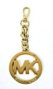 NEW MICHAEL KORS GOLD TONE MK SIGNATURE LOGO KEY RING,CHAIN,FOB,CHARM