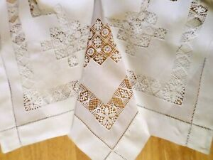 VICTORIAN Tablecloth DRAWN THREAD WORK White LACE Vintage ANTIQUE Gorgeous LINEN