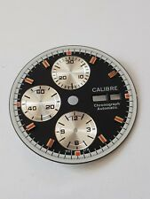 Calibre Watch dial for ETA Valjoux 7750 unused black dial silver shiny eyes
