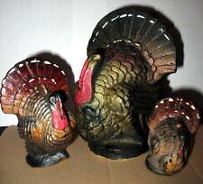 "Vintage Gurley TURKEY Thanksgiving Candles 6.5"", 4.5"" , 3"""