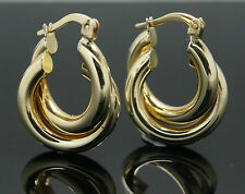 9Carat Yellow Gold Double Hoop Earrings (11x18mm)