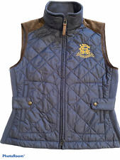 Ralph Lauren Women's Equestrian Vest Medium Quilted Leather Trim Full Zip Crest