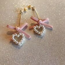 Pink Bow Pearl Gold Earrings